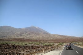 Buggies riding in front of the Teide