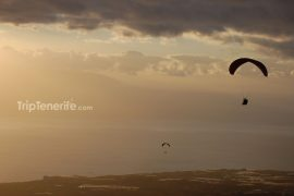 paragliding sunset