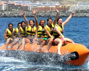 Group of girls on Banana boat