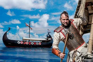 Viking warriors on boat